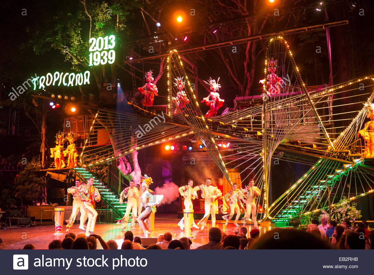 Performers at The Tropicana Nightclub, a world known cabaret and club in Havana, Cuba, launched in 1939. - Stock Image