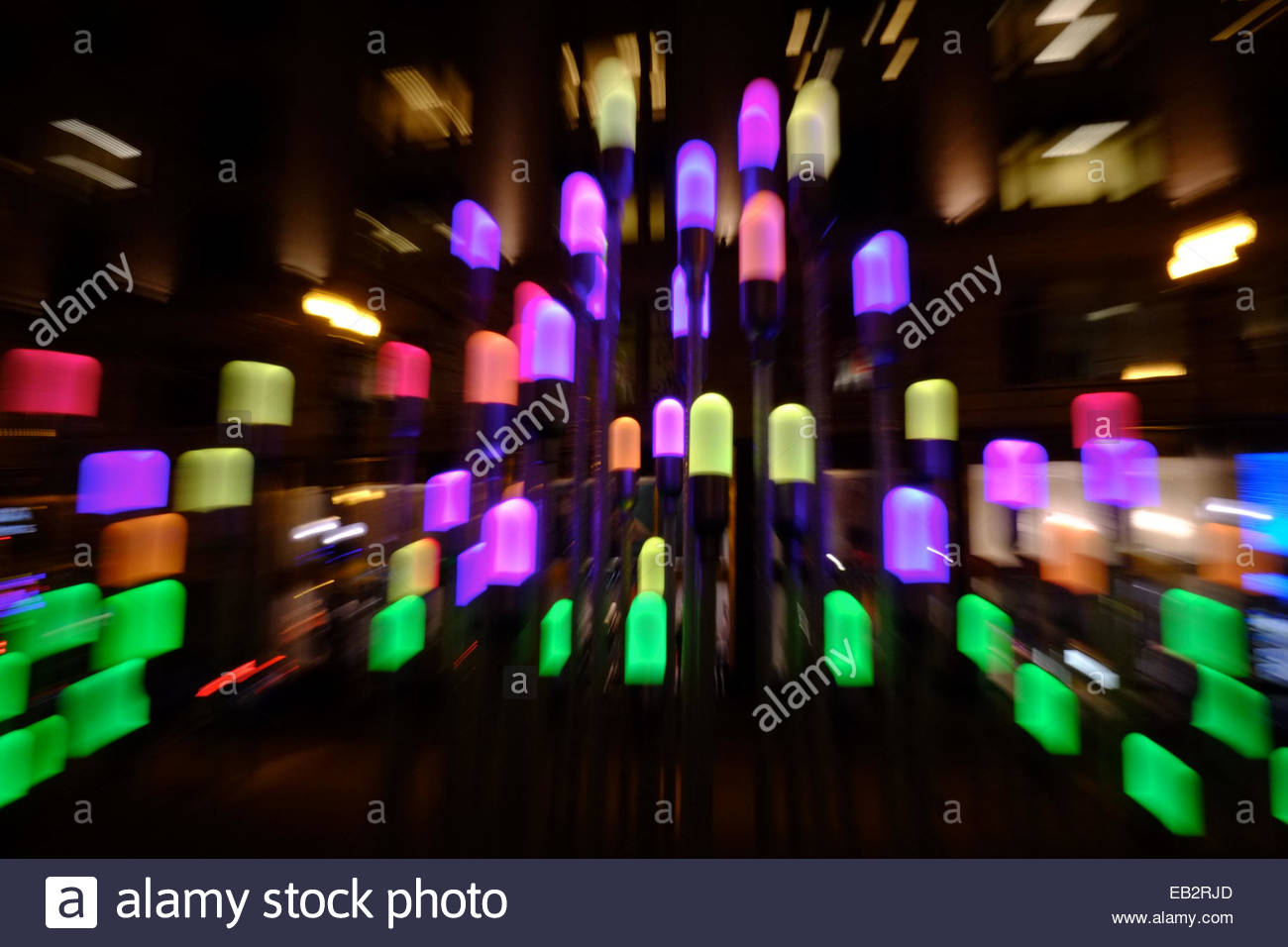 zoom lens view of colorful seasonal lights on state street in stock