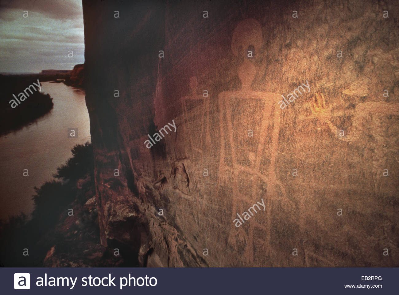 Anasazi pictographs above the San Juan River, Utah, at dusk. - Stock Image
