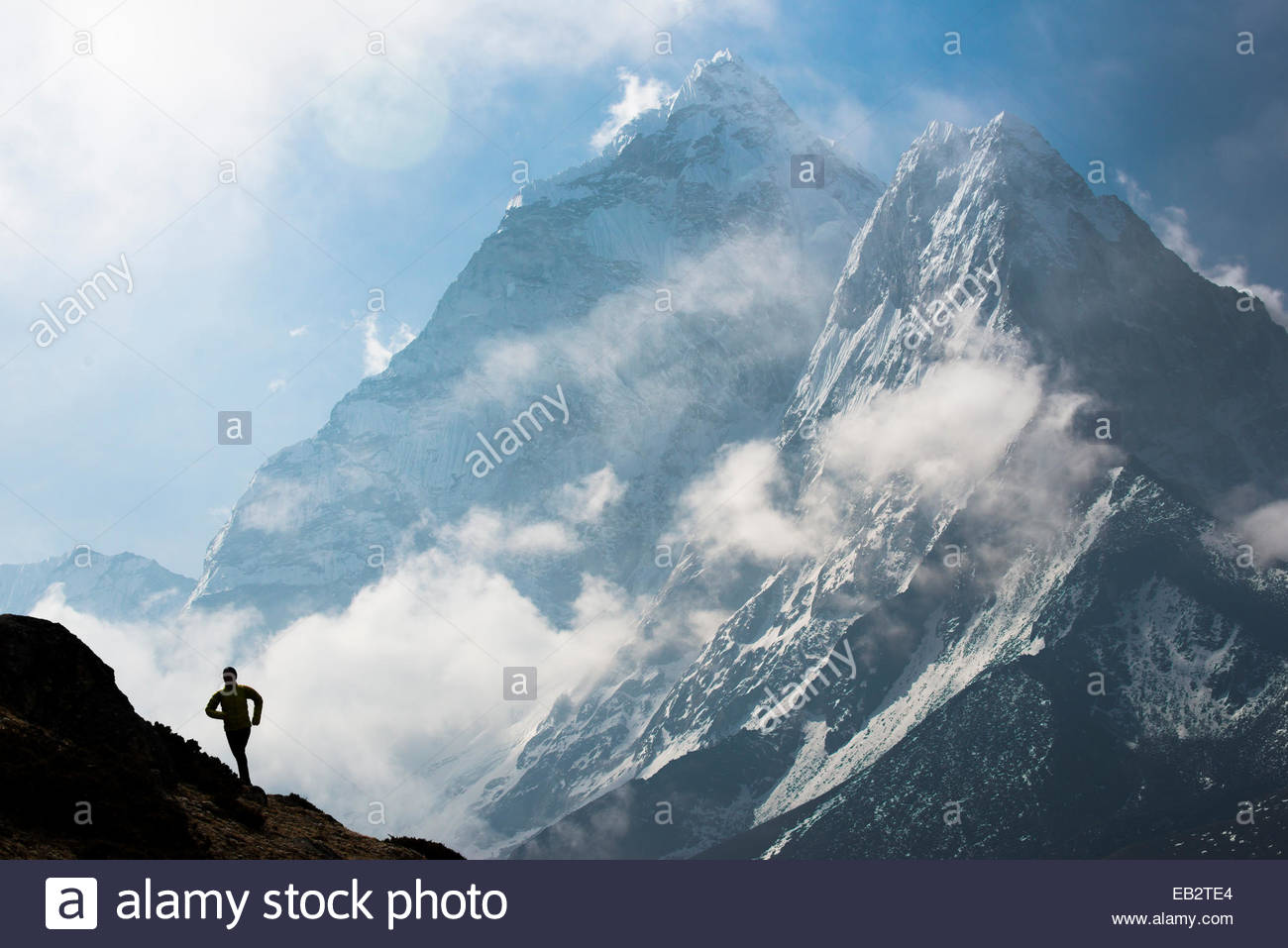 Lizzy Hawker ��� the 100km world champion runner �����while competing in the Everest Base Camp to Kathmandu Mailrun: - Stock Image