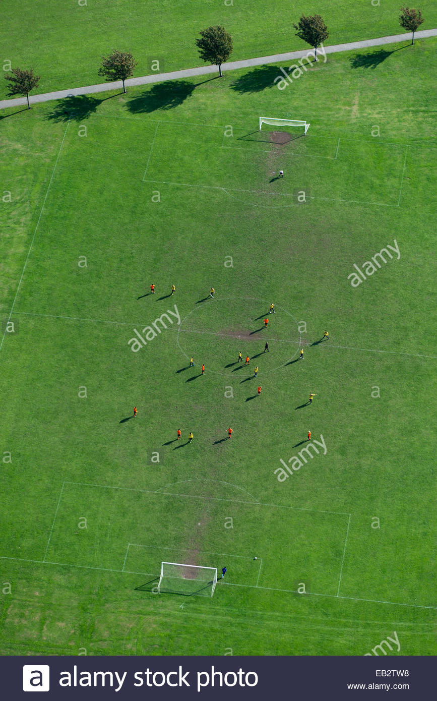 An aerial view of a football match in Regents Park in north London - Stock Image