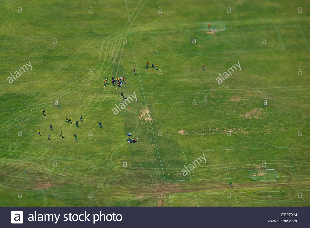 An aerial view of a football pitch in London - Stock Image