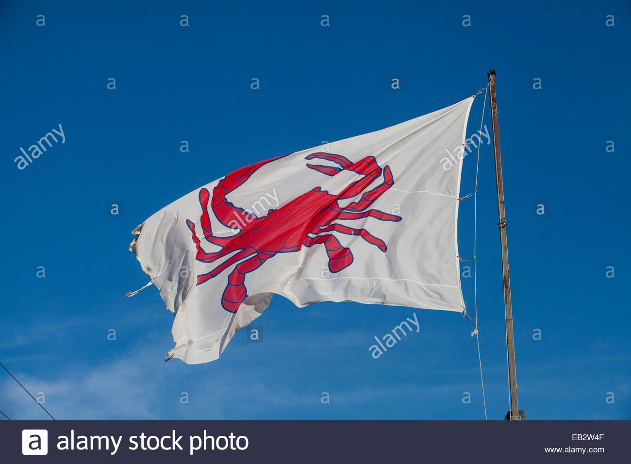 A restaurant flys a red carb flag to advertise its speciality in Wildwoods, New Jersey. - Stock Image