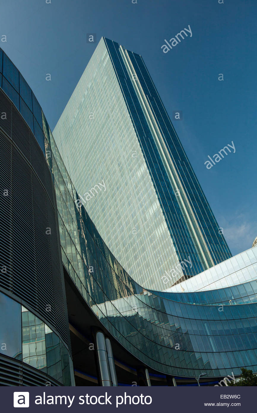 The glass enclosed Revel Resort and Casino is the highest building in New Jersey. - Stock Image