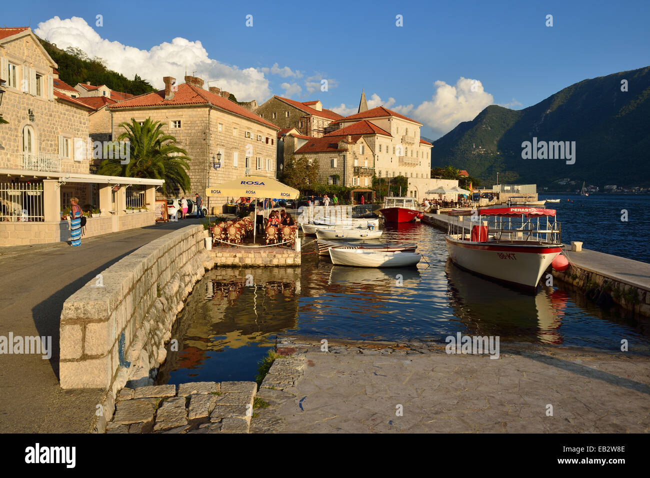 Port, Perast, Bay of Kotor, Crna Gora, Montenegro - Stock Image