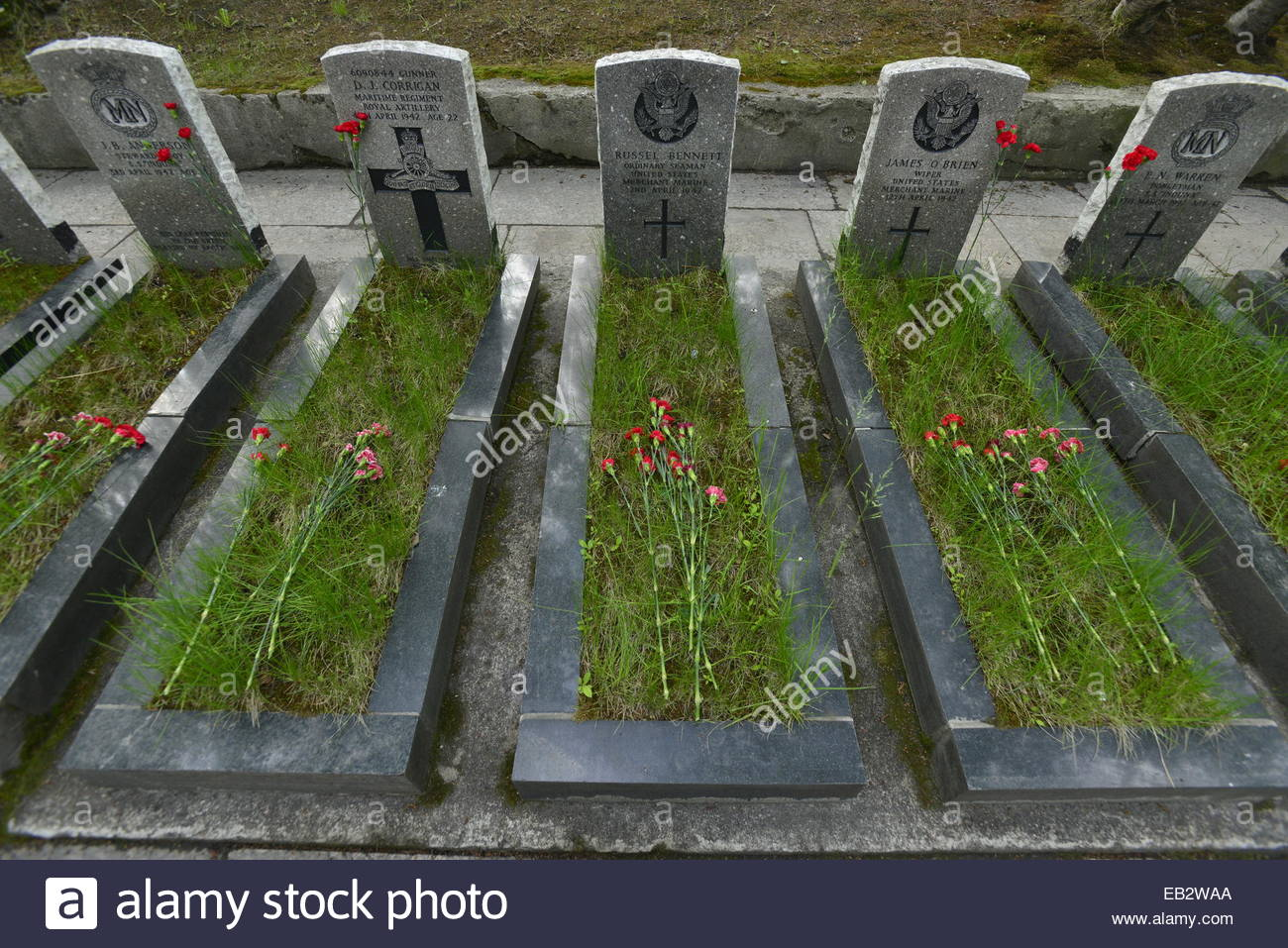 Graves, at the Allied Cemetery, of sailors killed in the convoys of WWII. - Stock Image