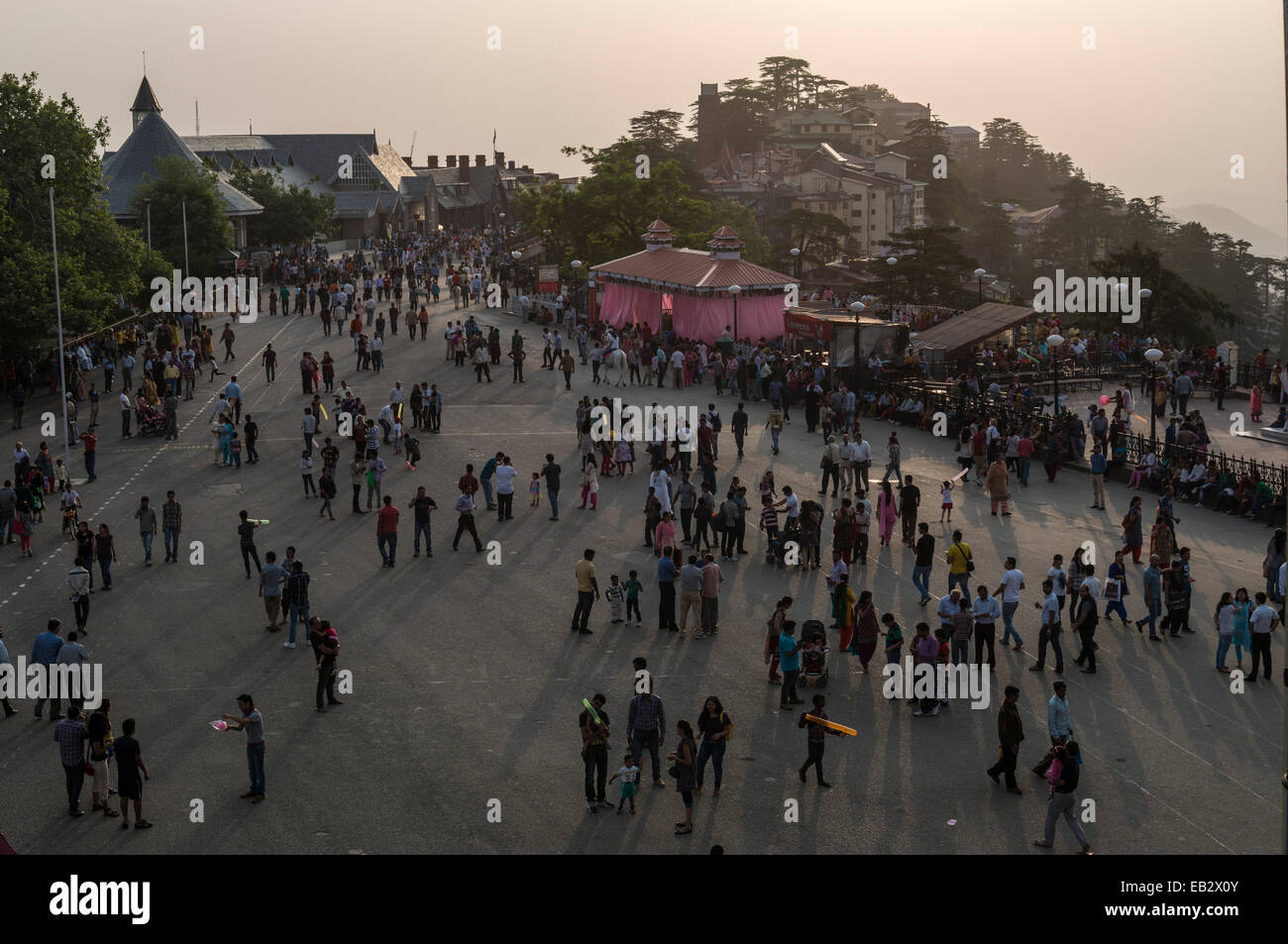 Pedestrians on Mall Road, Shimla, Himachal Pradesh, India - Stock Image