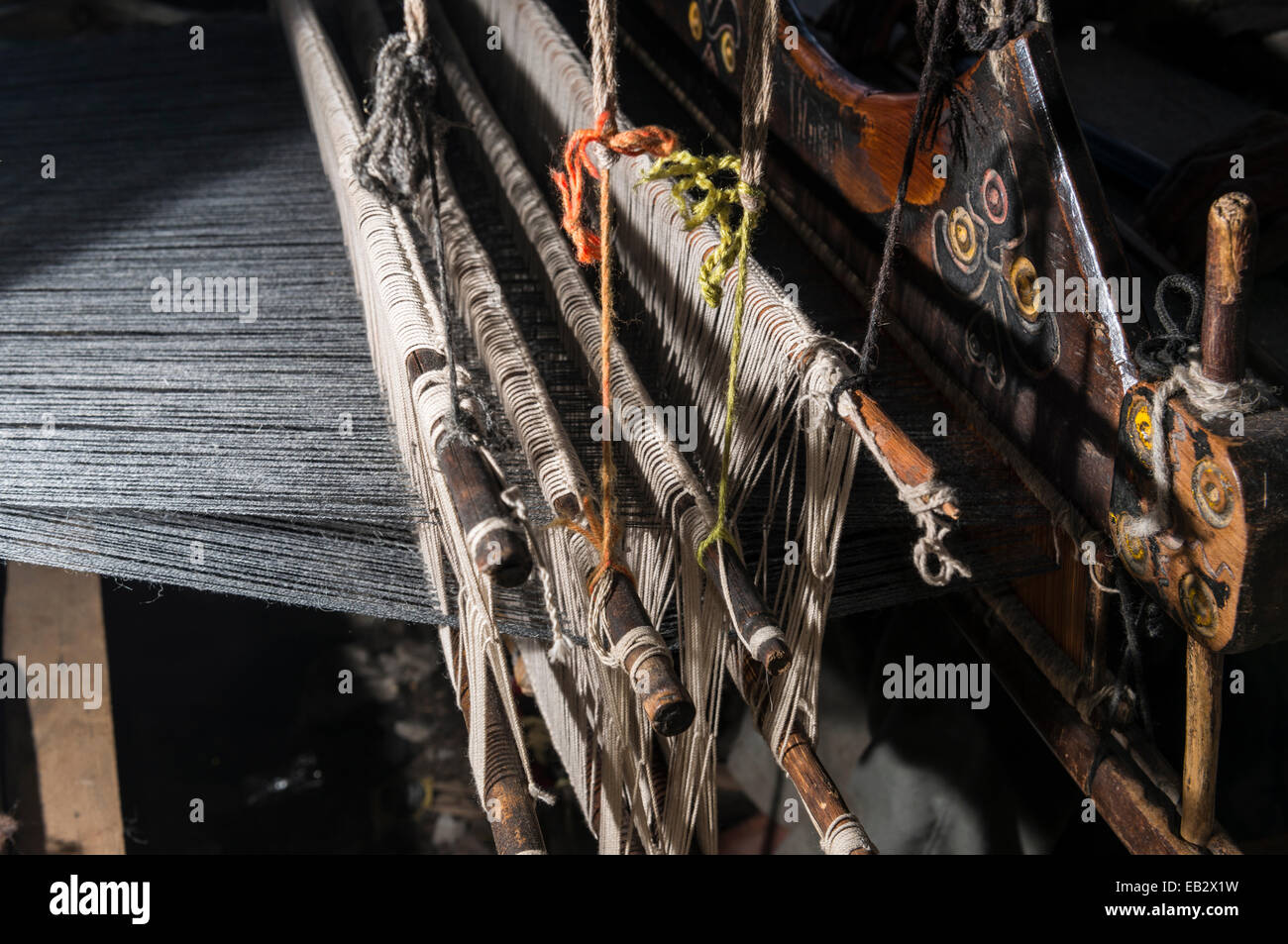 Detailed view of a handloom, Chitkul, Himachal Pradesh, India - Stock Image