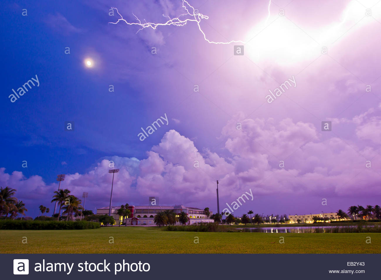 Intense lightning colors the sky purple at night during a thunderstorm. - Stock Image