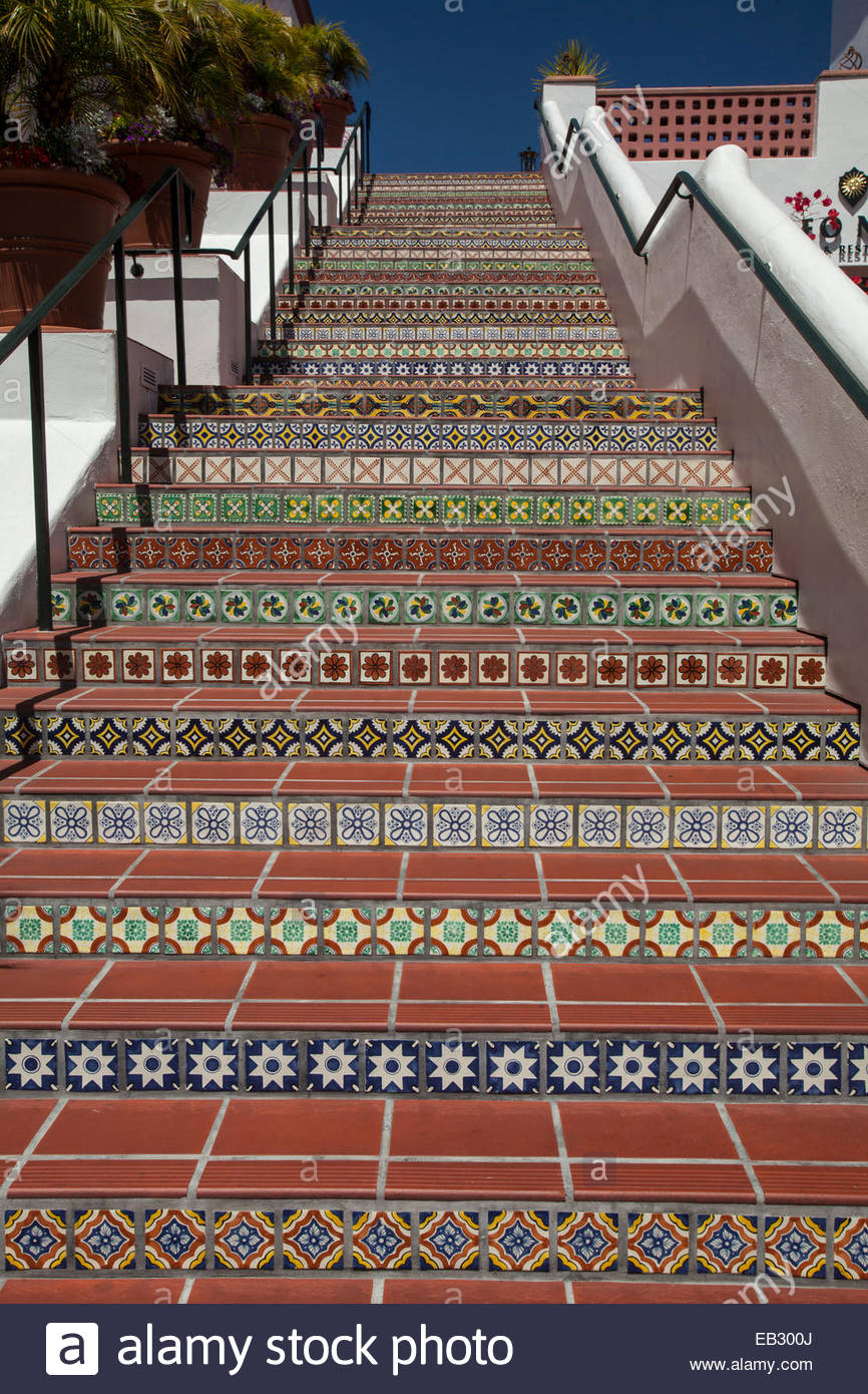 Steps With Spanish Tiles Leading To Veranda In Santa