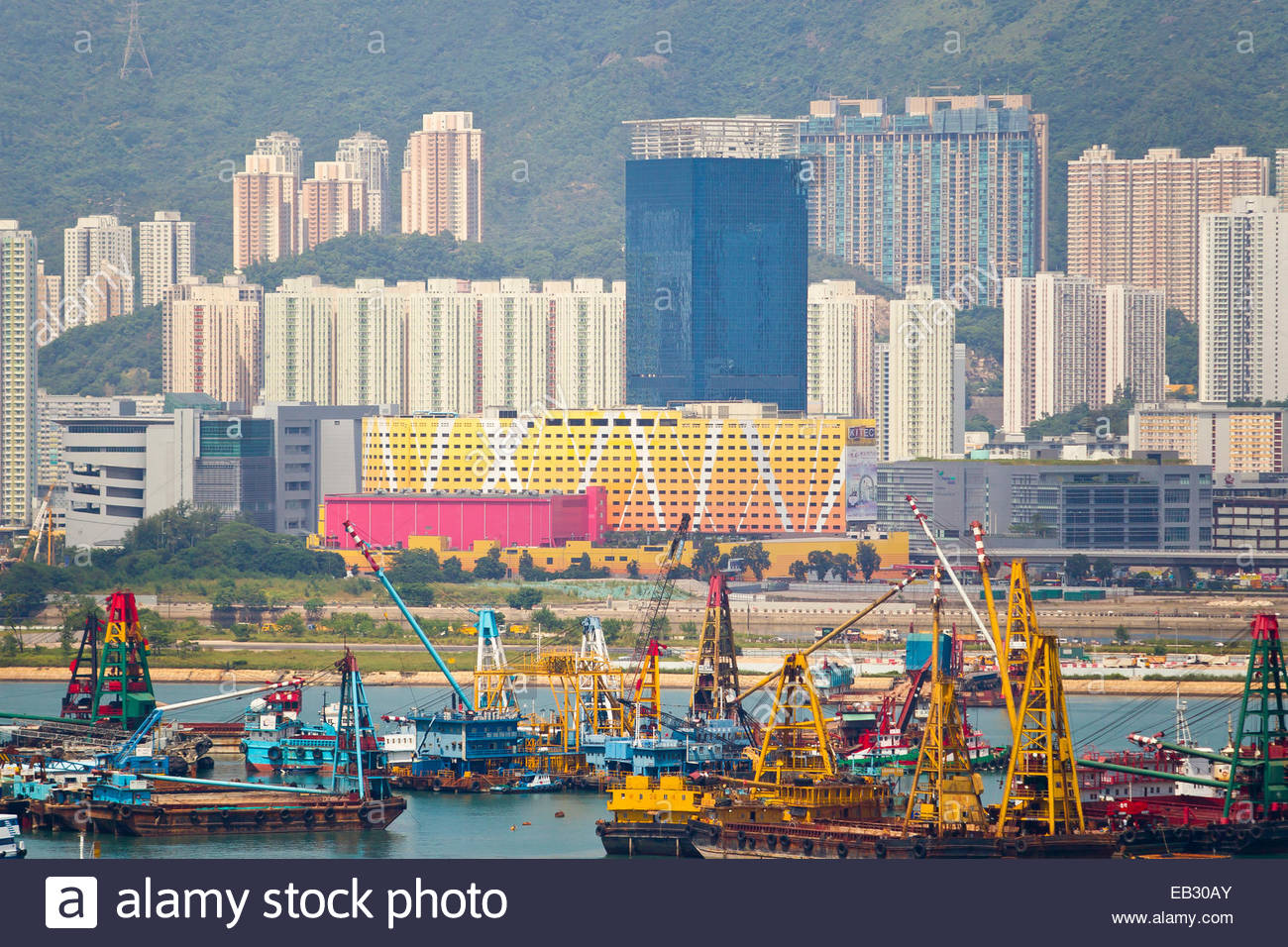 Barges tied up in Victoria Harbor in preparation for approaching Typhoon Usagi. - Stock Image