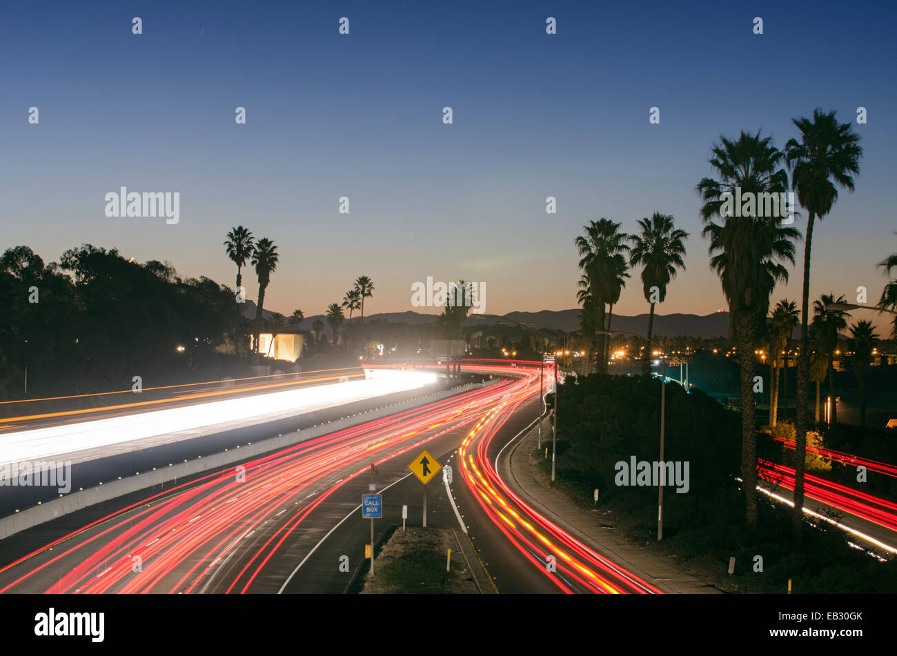 Time exposure of morning rush hour on the Ventura Freeway on Highway 101. - Stock Image