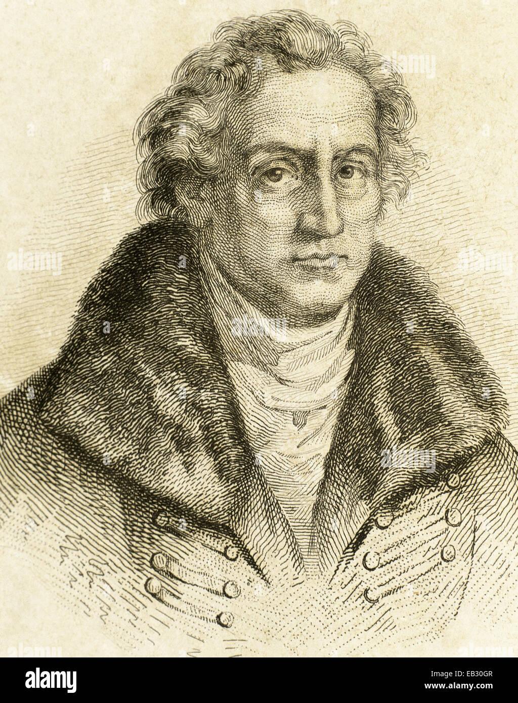Johann Wolfgang von Goethe (1749-1832). German writer. Weimar Classicism. Engraving, 19th C. Portrait. - Stock Image