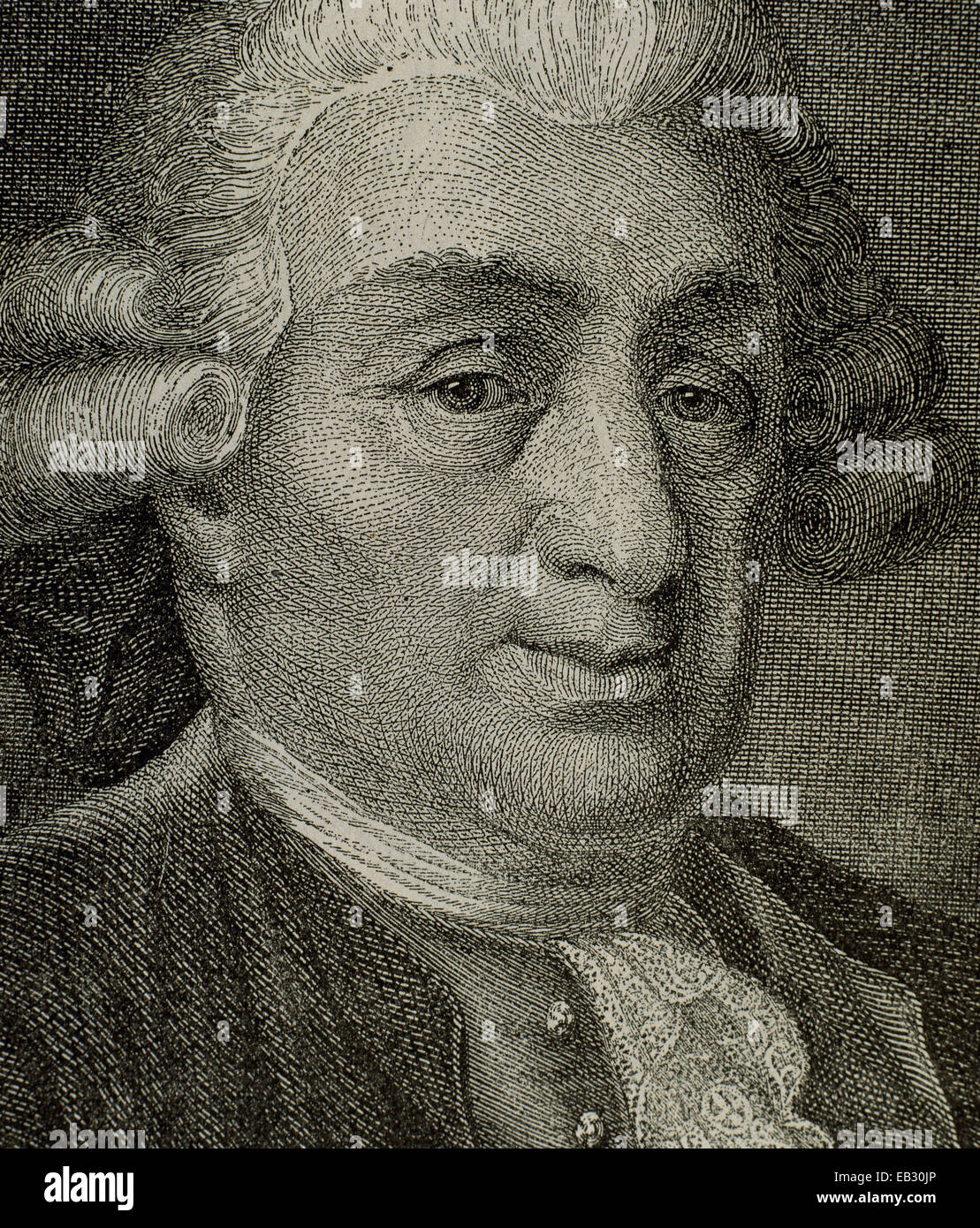 Carlo Goldoni (1707-1793). Italian playwright and librettist from the Republic of Venice. Engraving. 19th century. - Stock Image