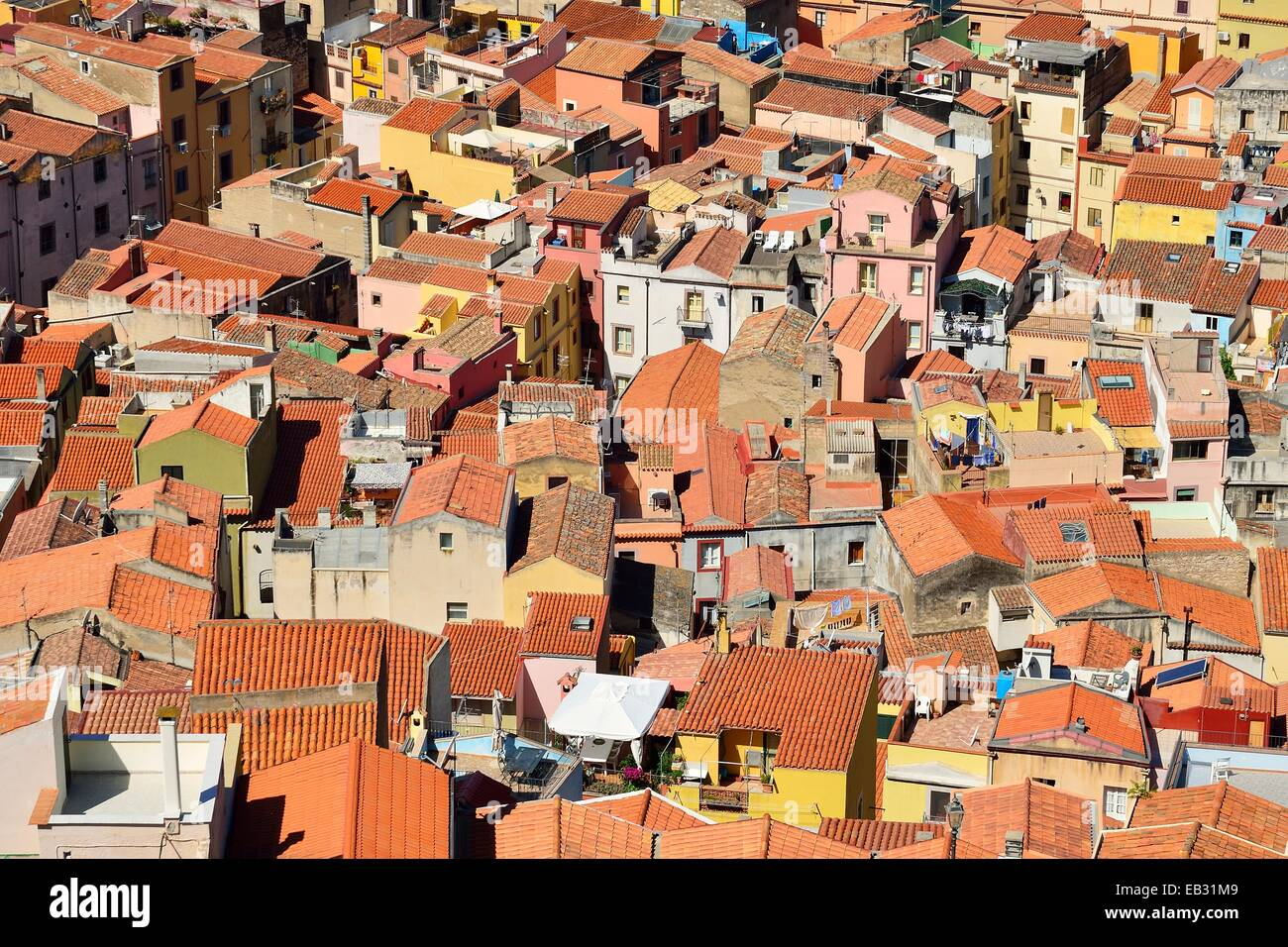 Overlooking the tiled roofs of the historic centre, Bosa, Oristano Province, Sardinia, Italy - Stock Image