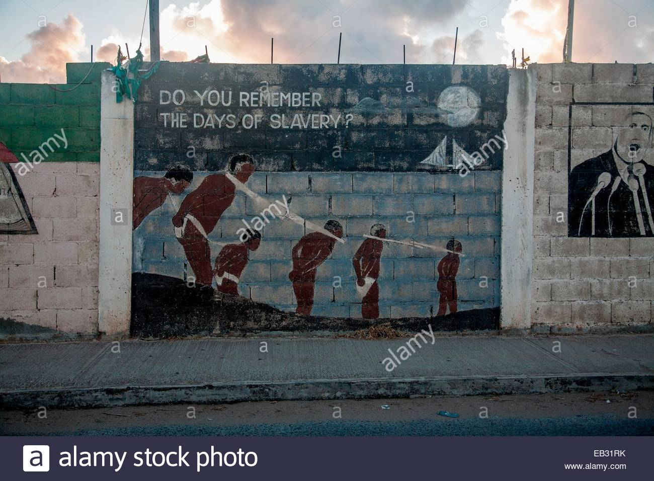 Do You Remember The Days of Slavery: a mural on Virgin Gorda Island. - Stock Image