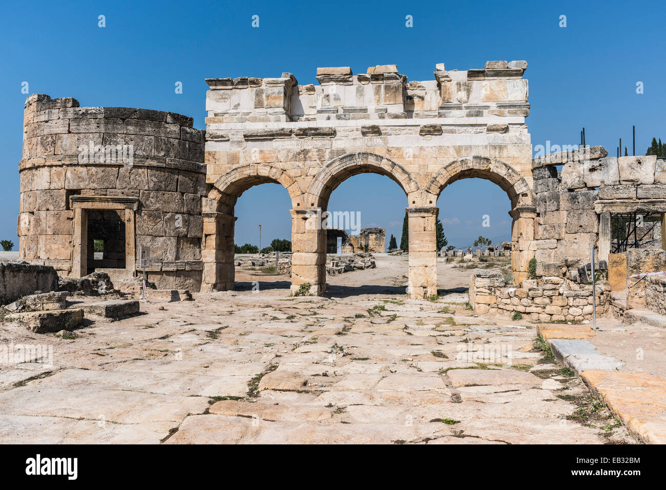 North gate of Hierapolis, ancient Greek city, UNESCO World Heritage site, near Pamukkale, Phrygia, Denizli Province, - Stock Image