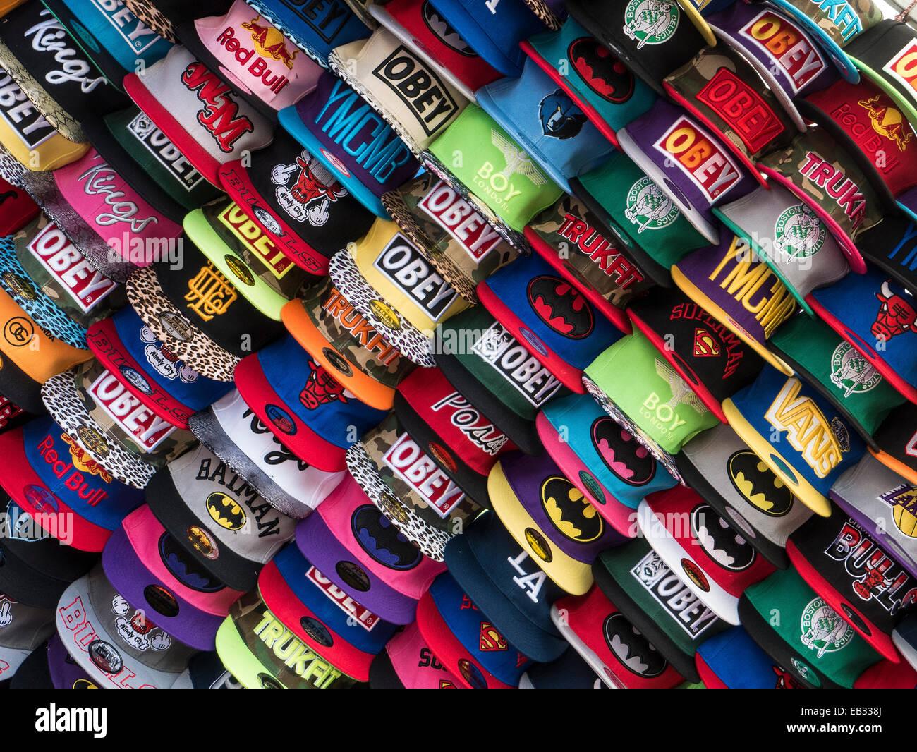 Base Ball Caps on Spanish Market Stall - Stock Image