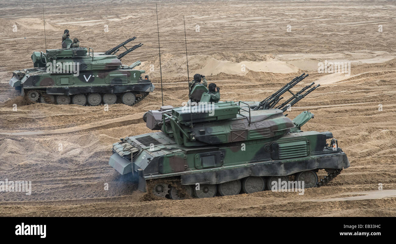 The ZSU-23-4 'Shilka' is a lightly armored, self-propelled, radar guided anti-aircraft weapon system (SPAAG) - Stock Image