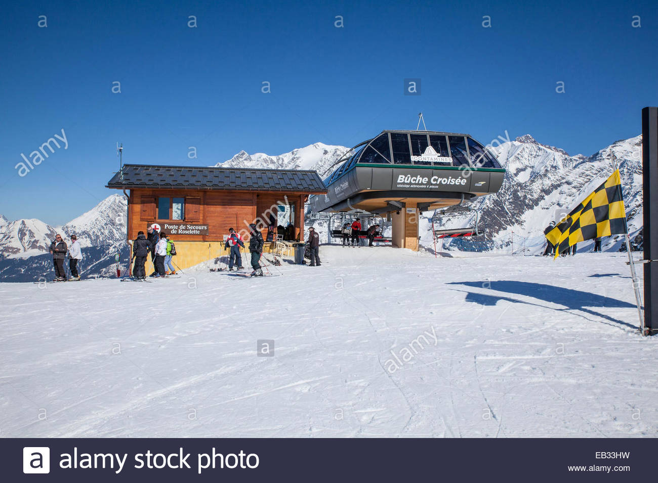 Contamines-Montjoie, arrival station for the chair lift. - Stock Image