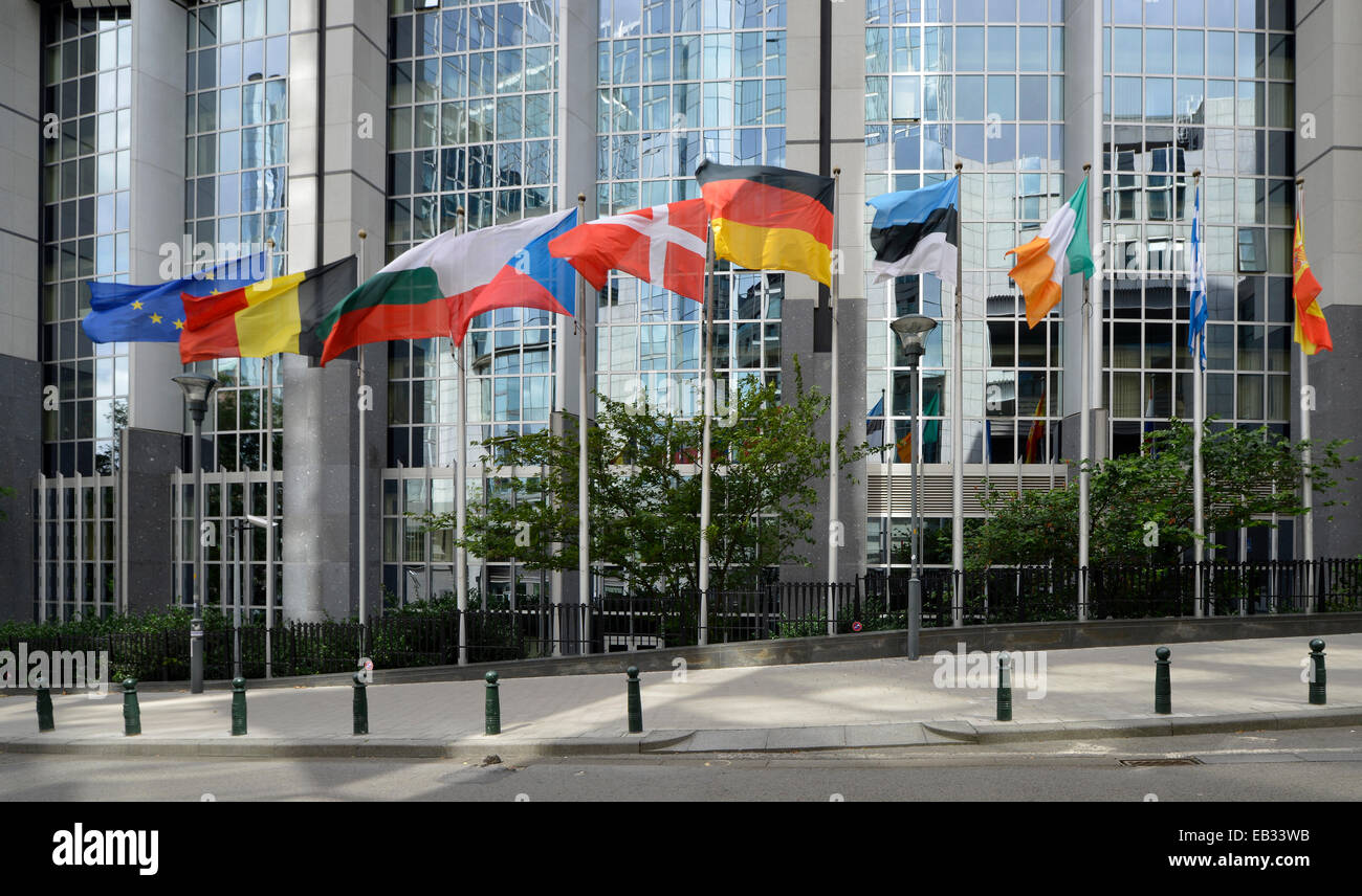 National flags of various countries, European Parliament, Euro-City, Brussels, Brussels Region, Belgium Stock Photo