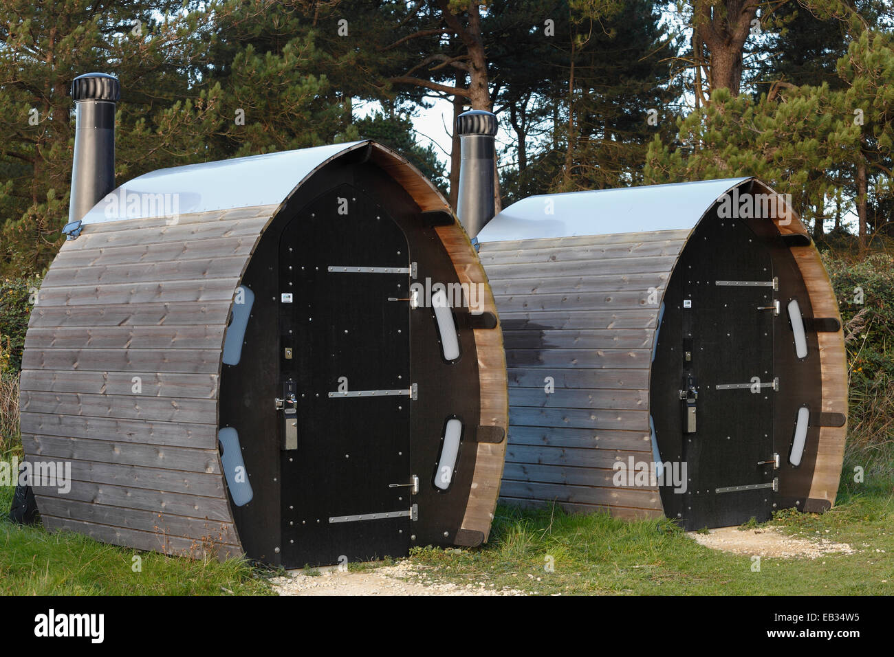 Unusual design for public toilets at Holme Dunes nature reserve visitors centre. - Stock Image