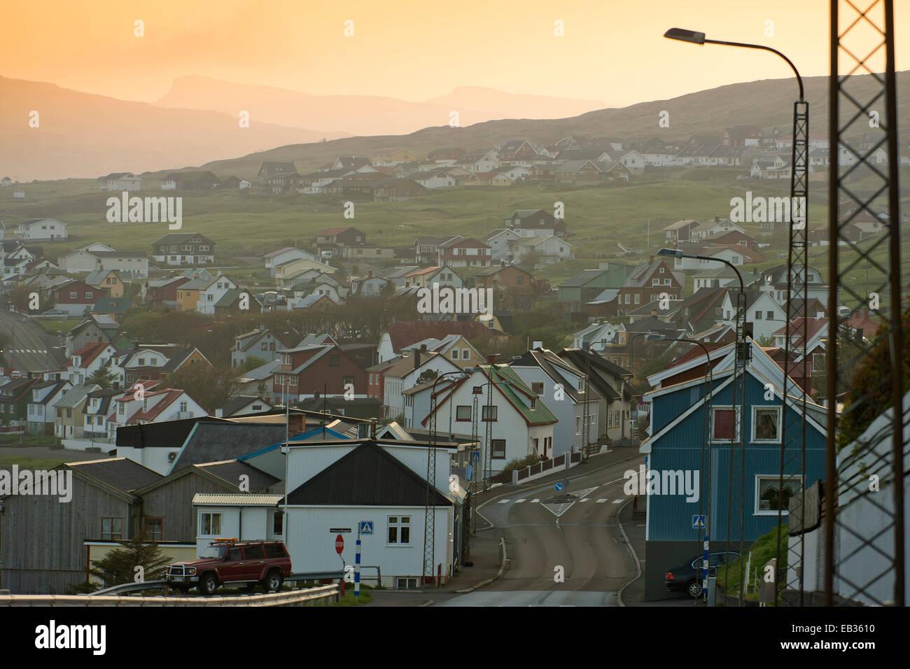 Centre of the town of Miðvágur, evening mood, Miðvágur, Vágar, Faroe Islands, Denmark - Stock Image