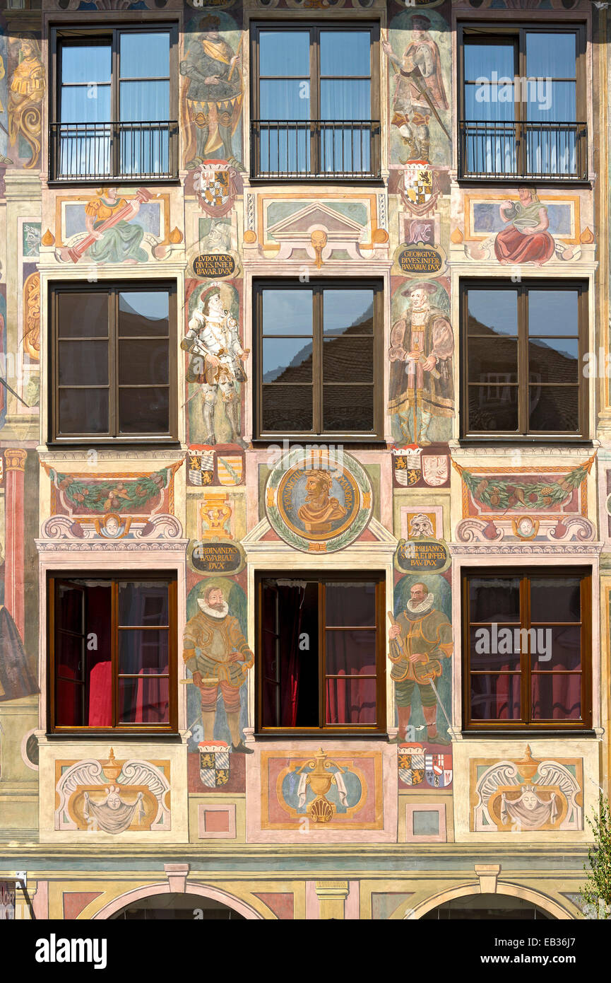 Paintings of the genealogy of the House of Wittelsbach, anno 1598, Landschaftshaus or Alte Post building, historic - Stock Image