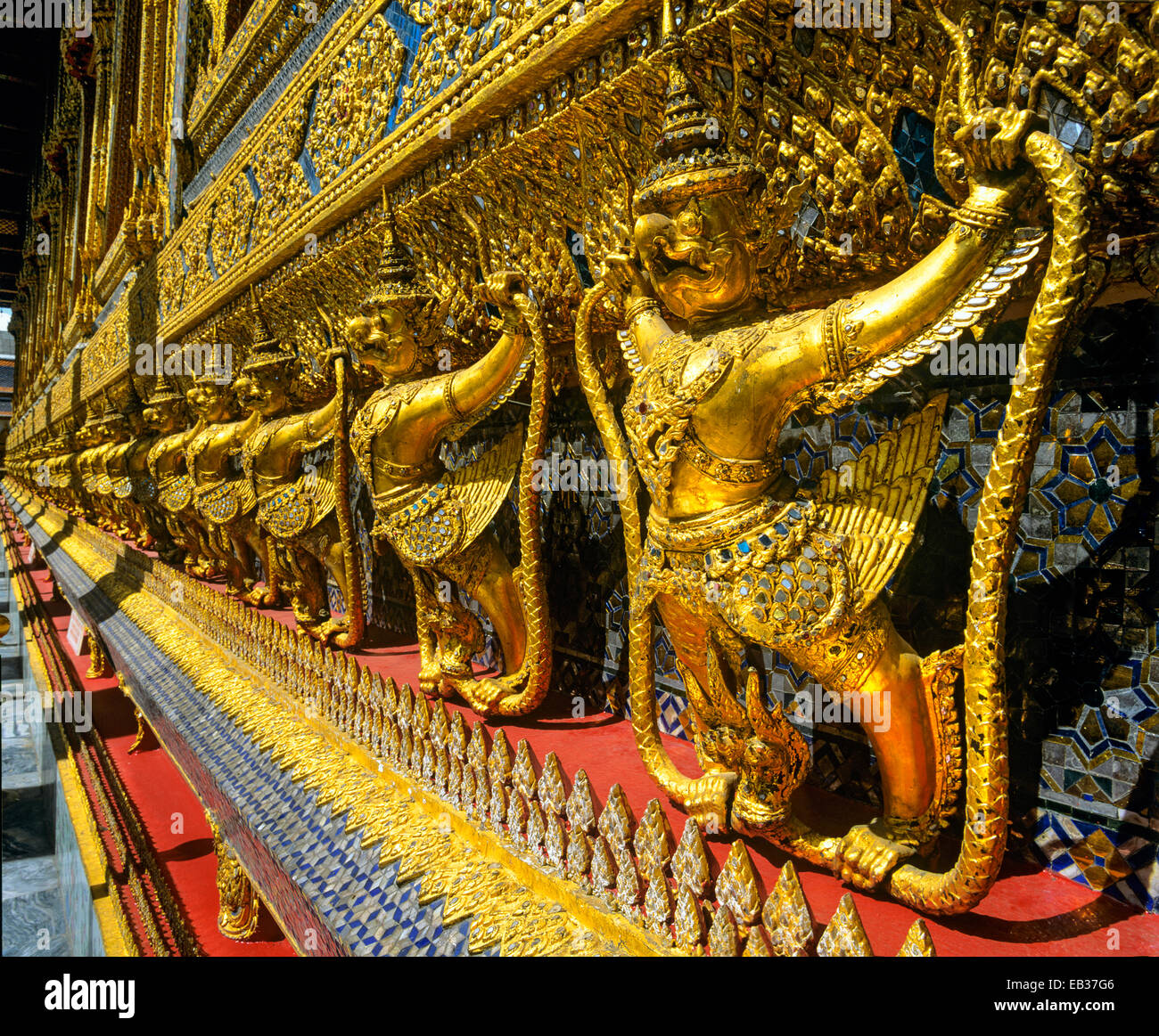 Gilded Garudas, mythical bird-like creatures, Wat Phra Kaeo Temple, Royal Palace, Bangkok, Central Thailand, Thailand - Stock Image