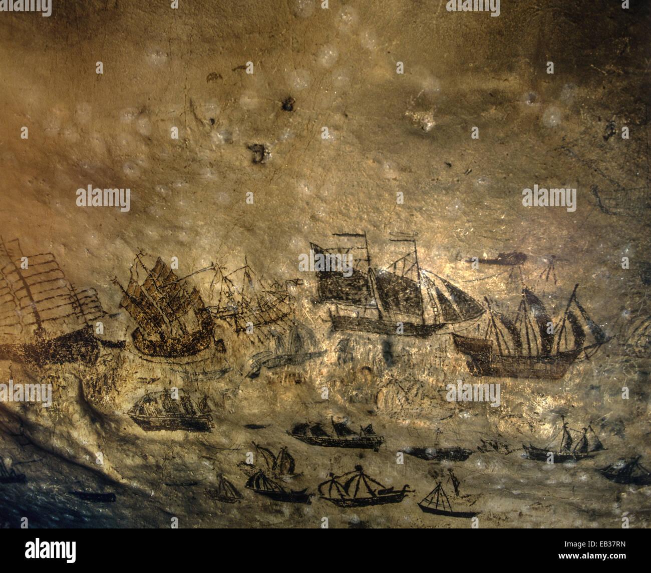 Viking Cave Wai King Historical Wall Paintings Of Various Ships Ko Phi Lee Islands Krabi Province