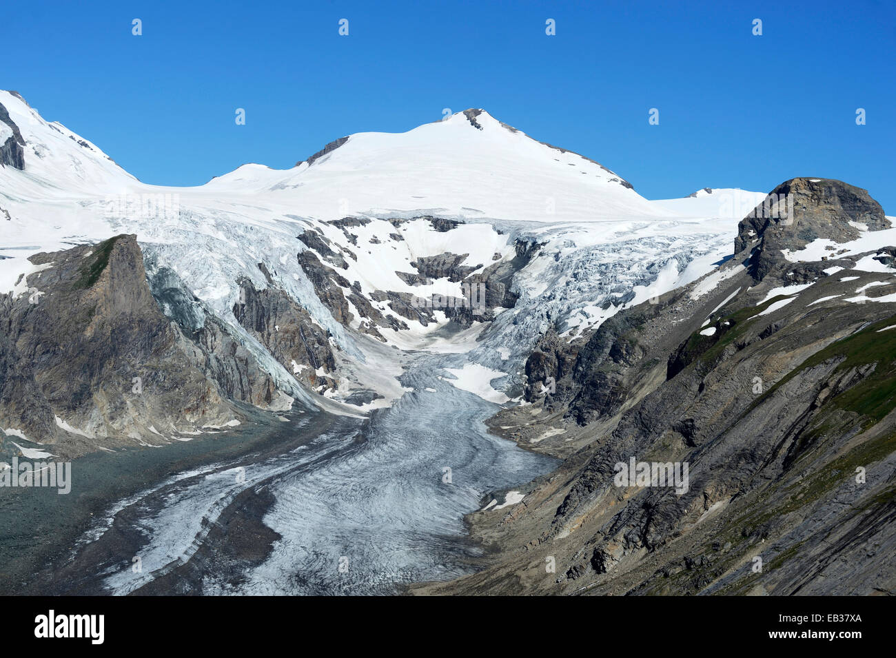 Pasterze Glacier, Mt Johannisberg at back, Kaiser-Franz-Josefs-Höhe, Carinthia, Austria - Stock Image
