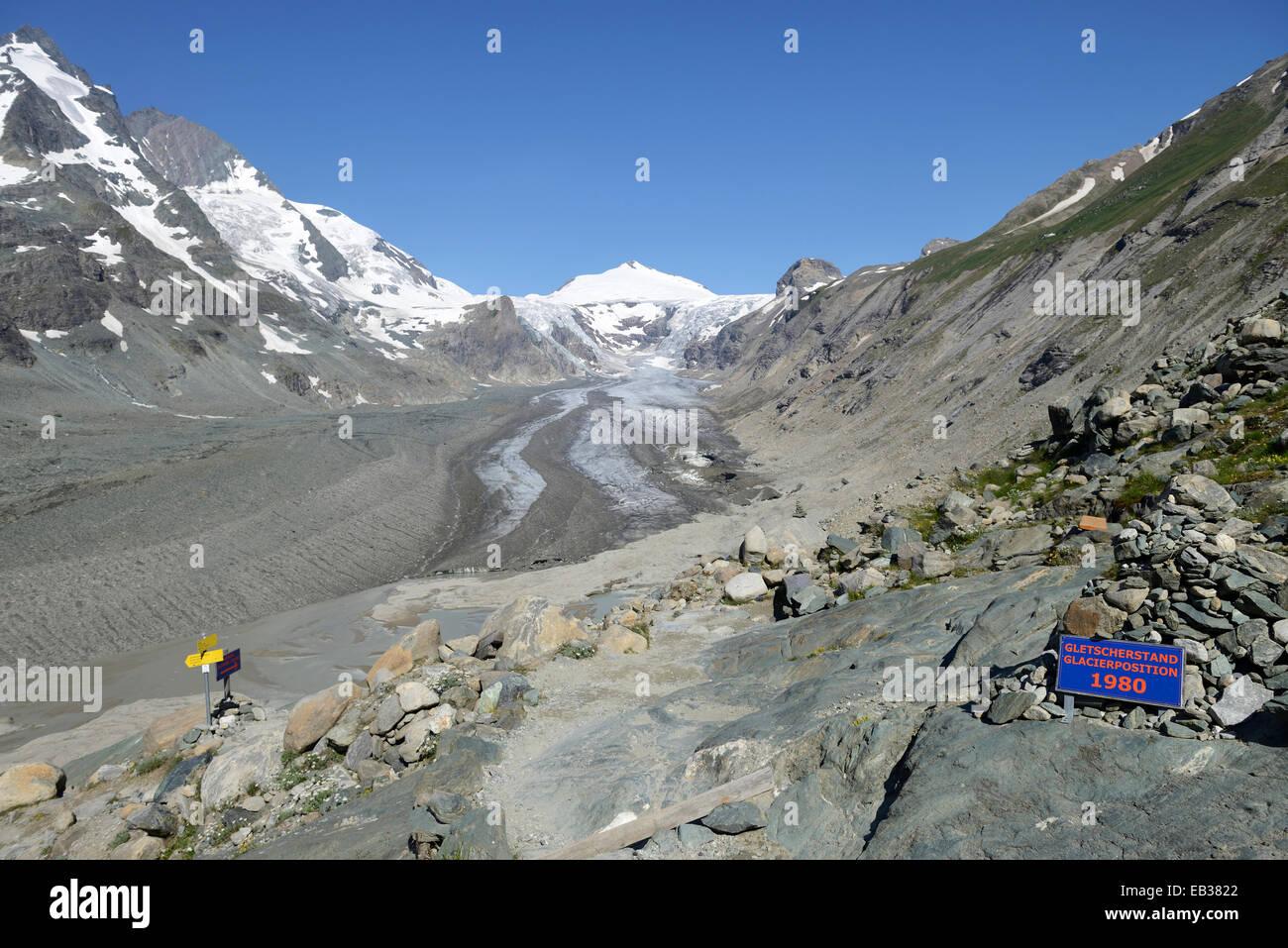 Panel about the glacier dimensions of 1980, Pasterze Glacier, Mt Johannisberg at back, Kaiser-Franz-Josefs-Höhe, - Stock Image