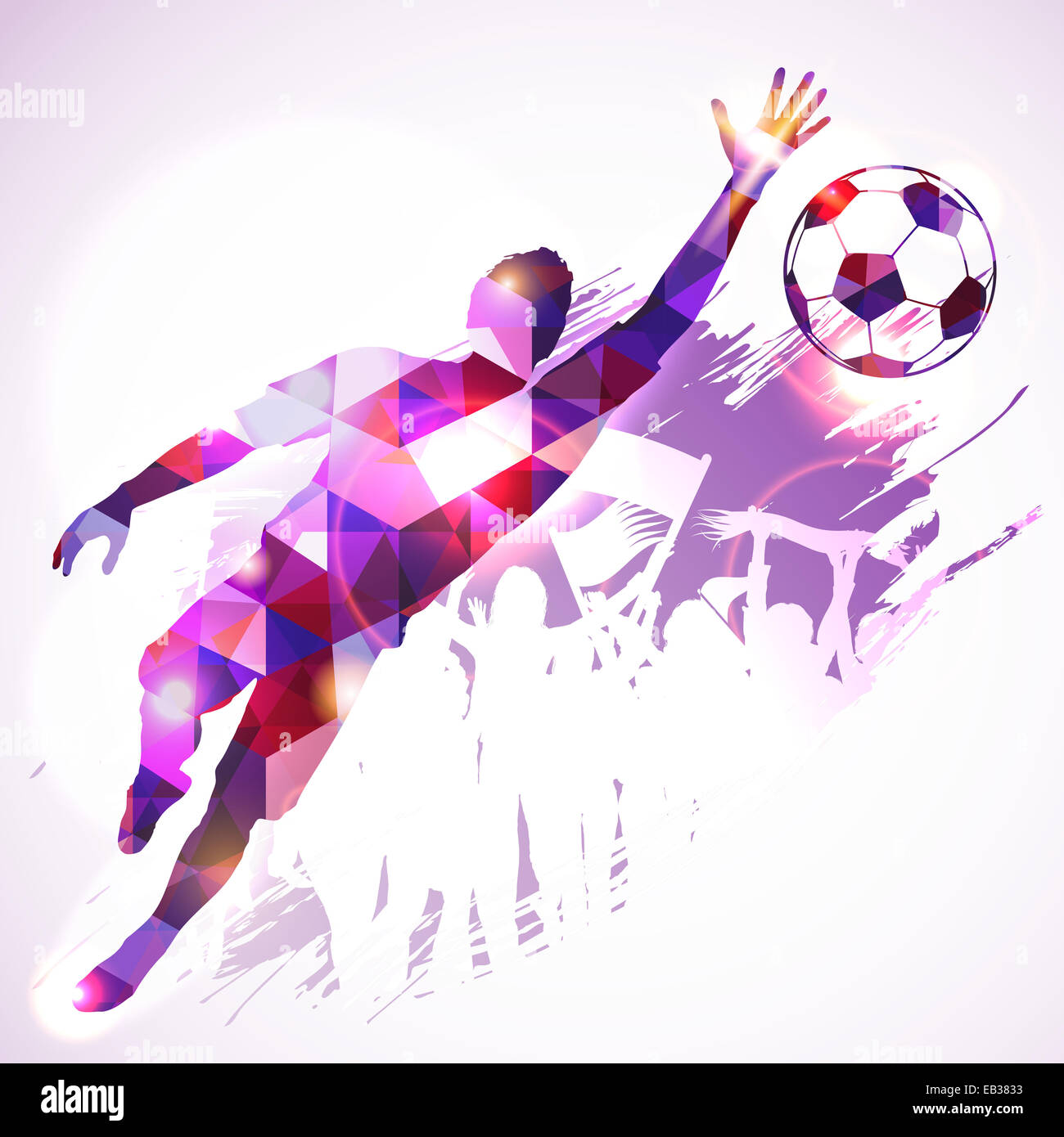 Silhouette Soccer Player Goalkeeper and Fans in Mosaic Pattern on grunge background, illustration. - Stock Image