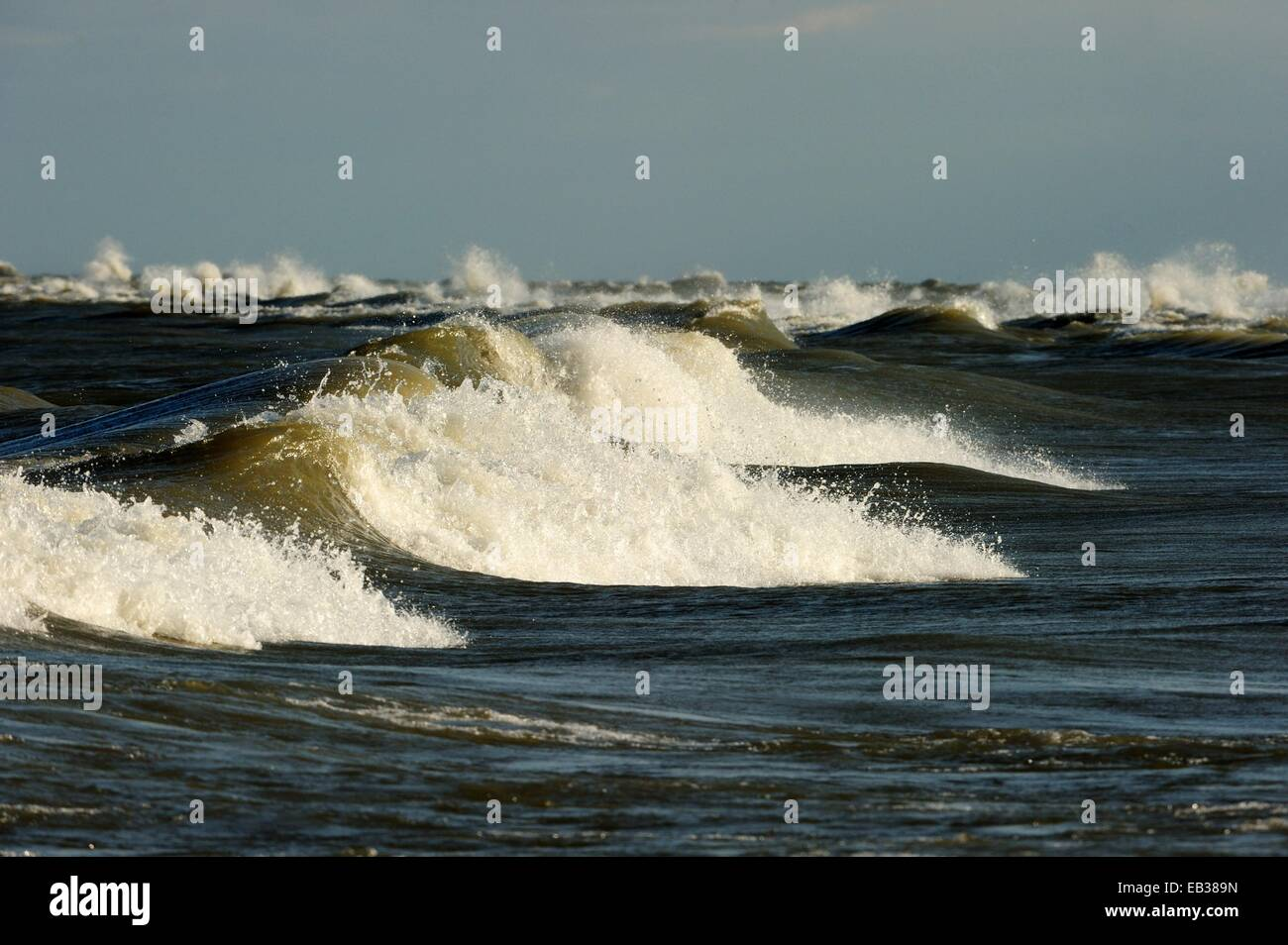 Breaking waves on Lake Erie, Point Pelee Nationalpark, Lake Erie, Ontario Province, Canada - Stock Image