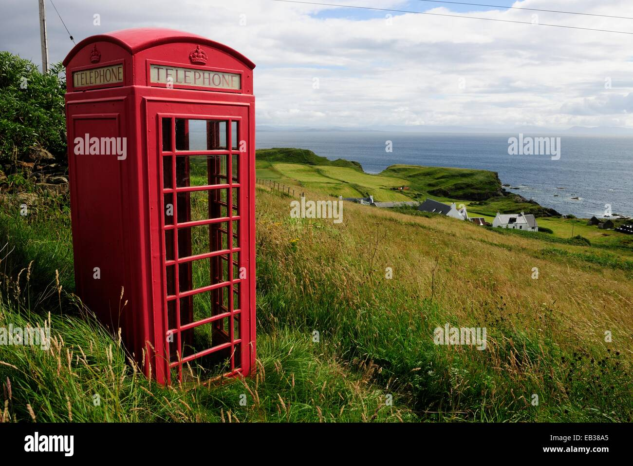 English phone booth in the middle of the countryside, Isle of Mull, Scotland, United Kingdom Stock Photo