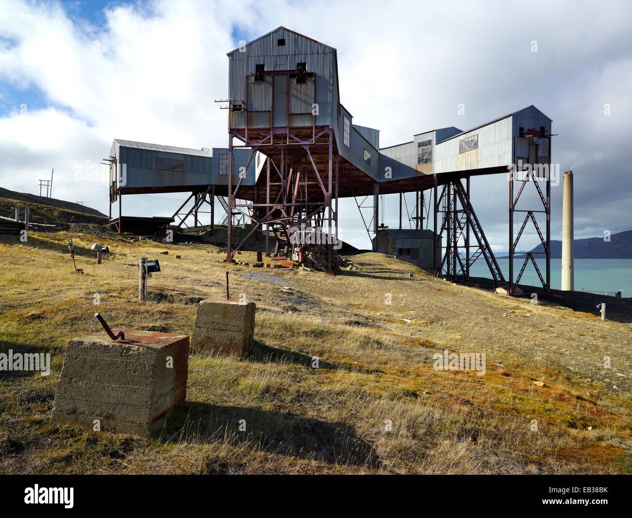 Old coal mine, Longyearbyen, Spitsbergen Island, Svalbard Archipelago, Svalbard and Jan Mayen, Norway Stock Photo