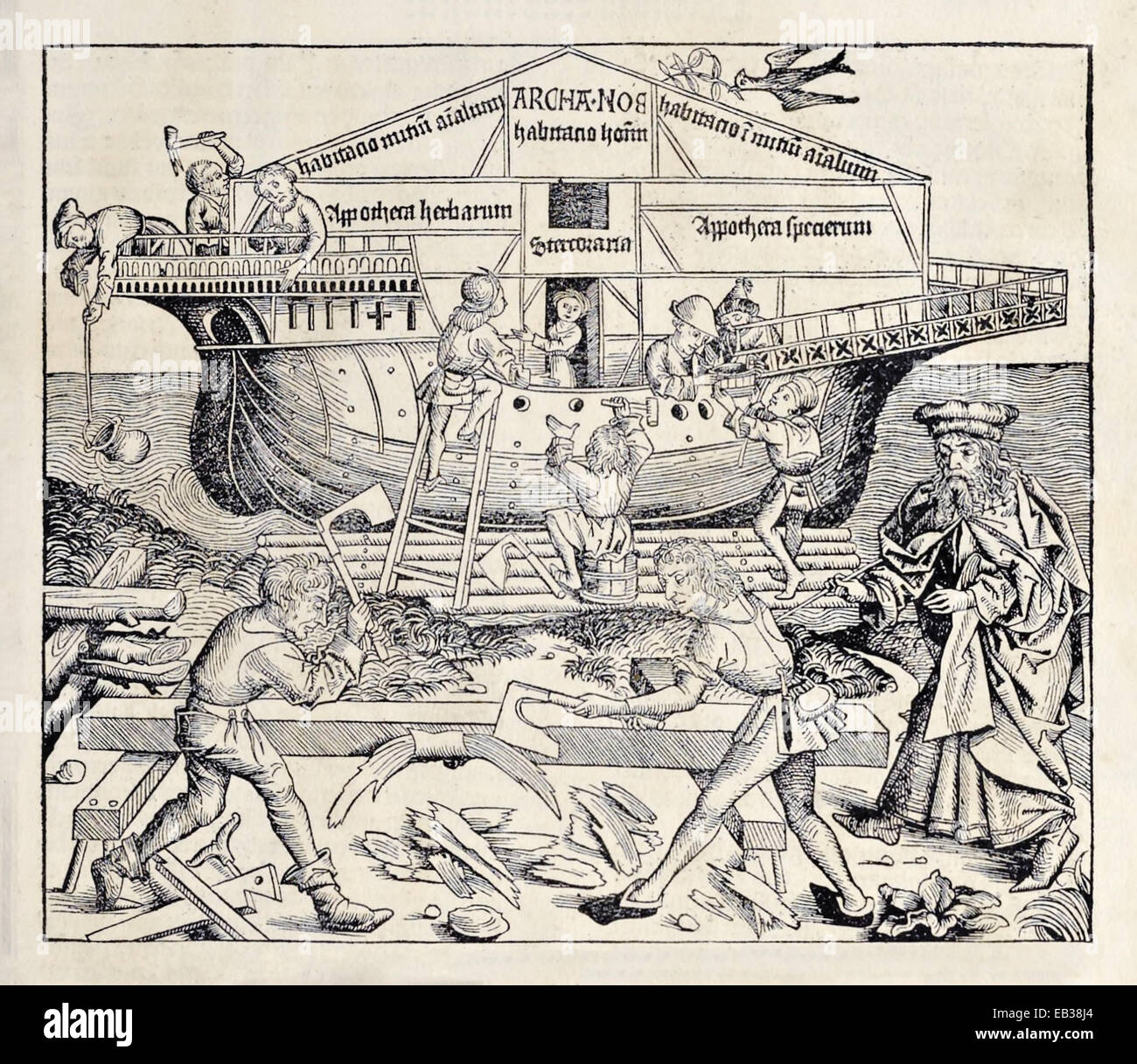 Construction of Noah's Ark. From 'Liber Chronicarum' by Hartmann Schedel (1440-1514). See description - Stock Image