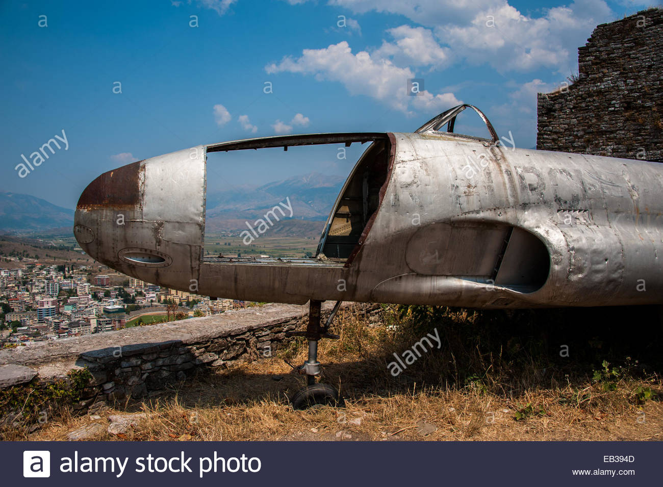 Overlooking Gjirokastra, a United States Air Force T33 Shooting Star aircraft that was forced to land at Tirana - Stock Image
