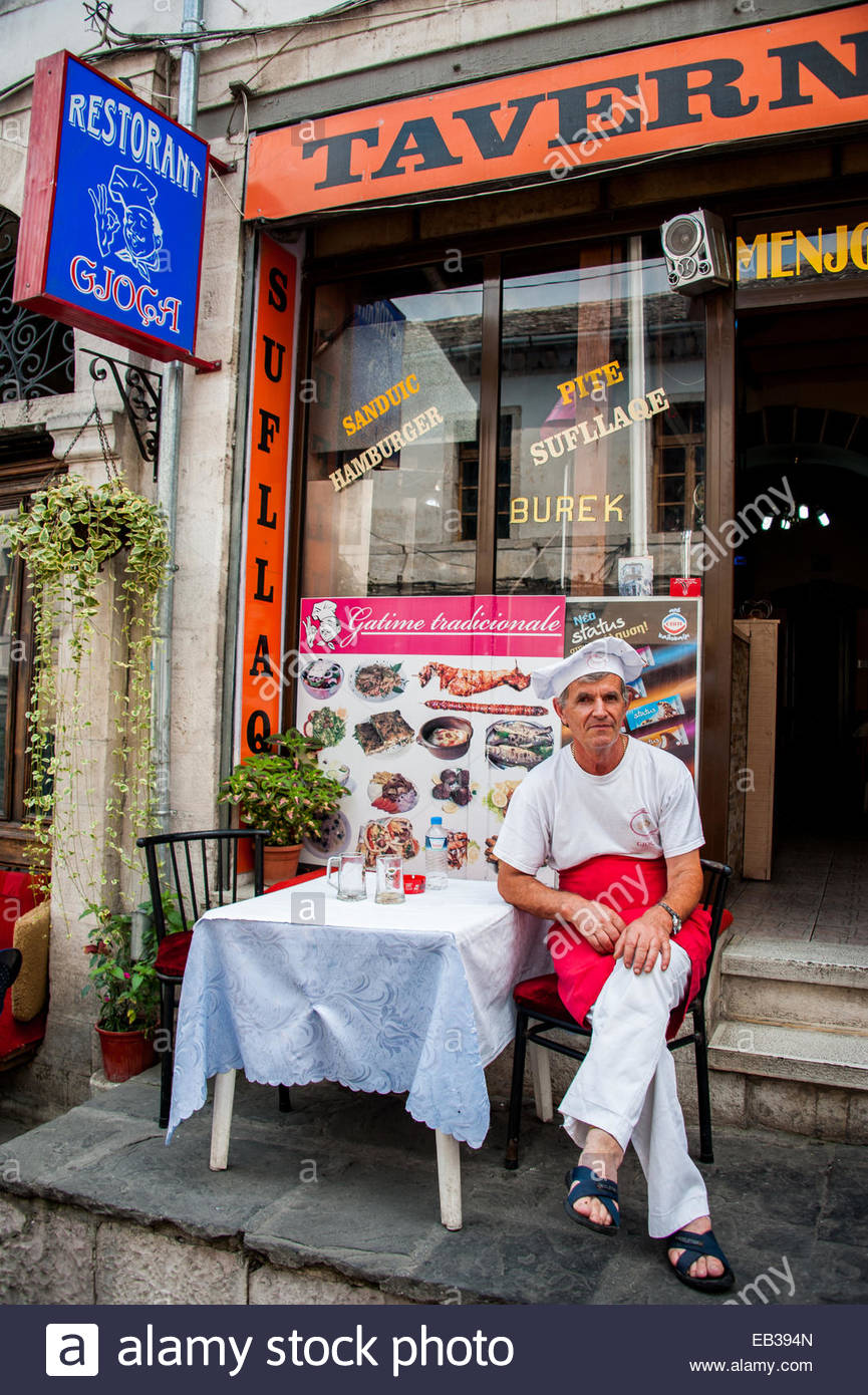 Chef and owner of a local tavern in Gjirokastra, Albania. Stock Photo