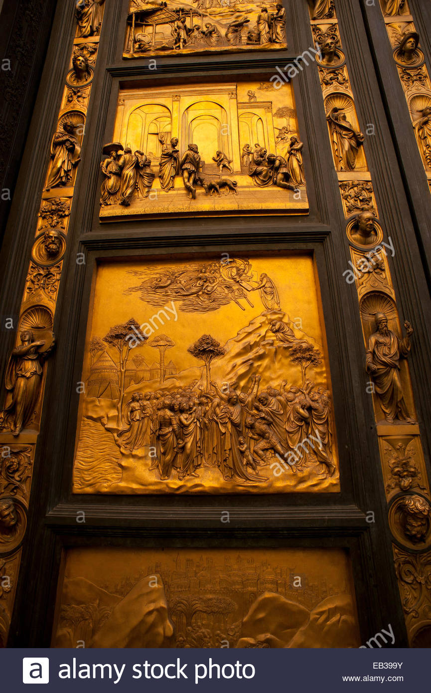 Replica of the panels in the east doors, or Gates of Paradise, by Lorenzo Ghiberti, of the Baptistry in Florence. - Stock Image