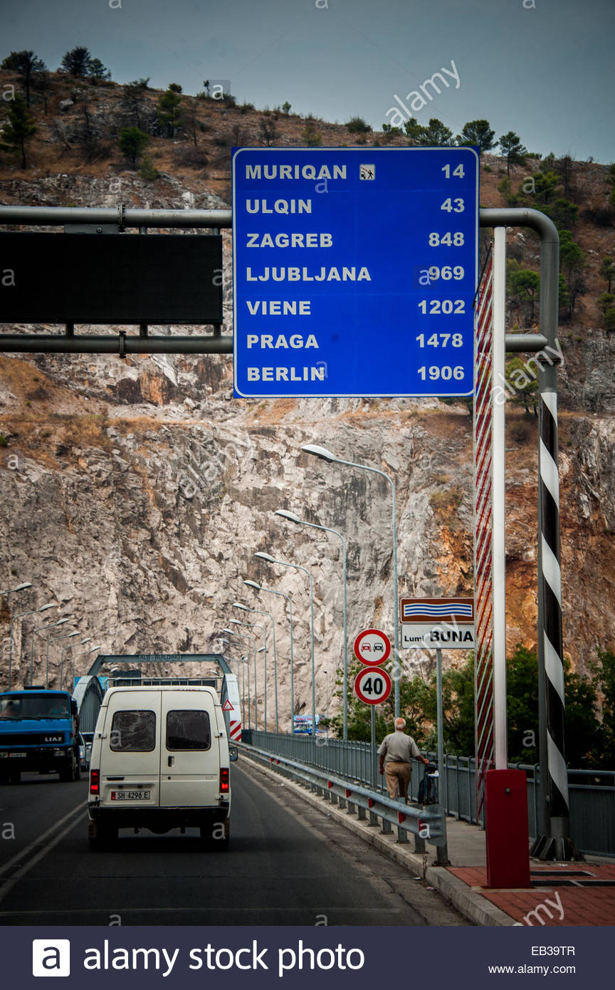 Street sign showing distances to other Balkan and Eastern European cities. - Stock Image