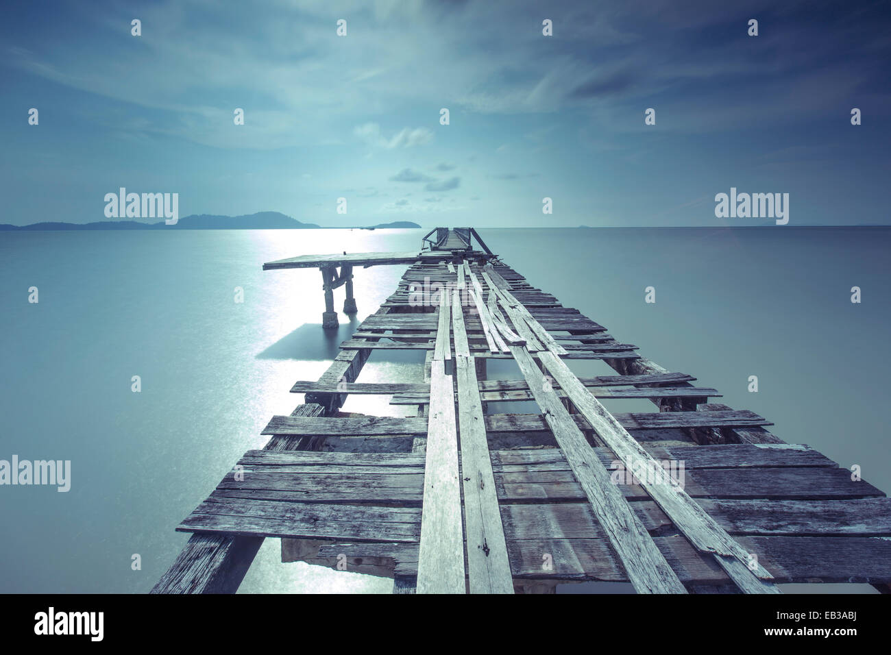 Indonesia, Kalimantan, West Kalimantan, Sungai Raya, Mempawah - Singkawang, Pier at Kijing beach - Stock Image