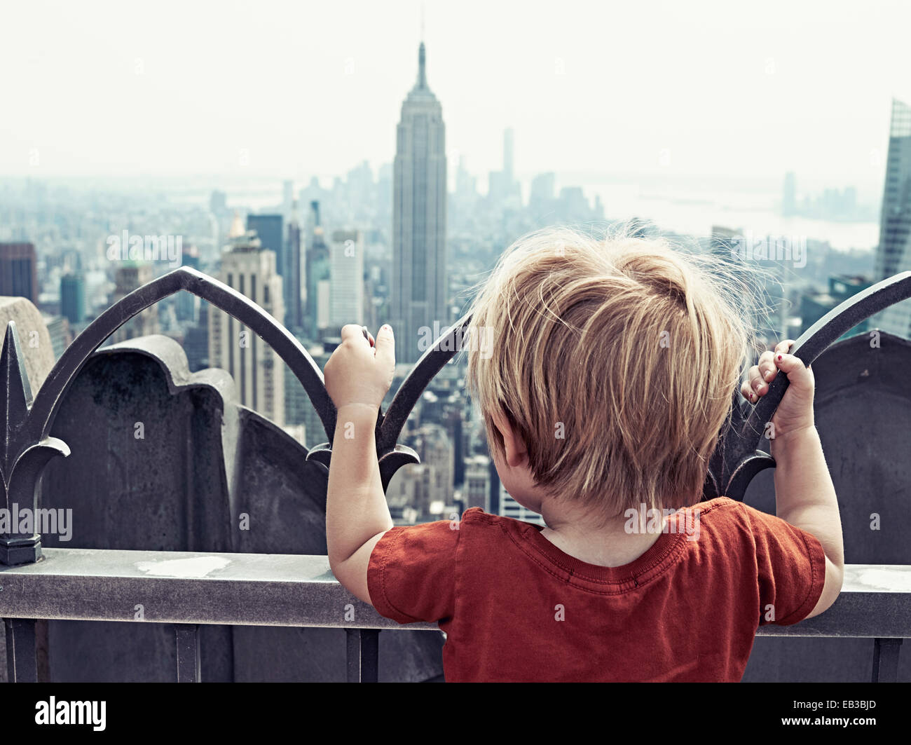 USA, New York State, New York City, Boy (2-3) looking at city Stock Photo