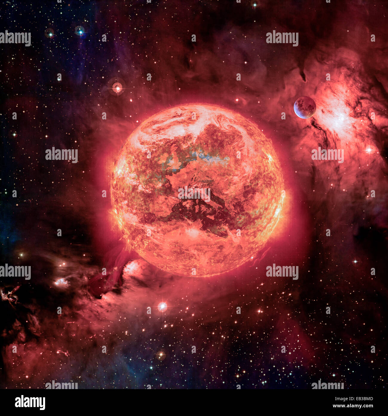Apocalypse with earth on fire - Stock Image