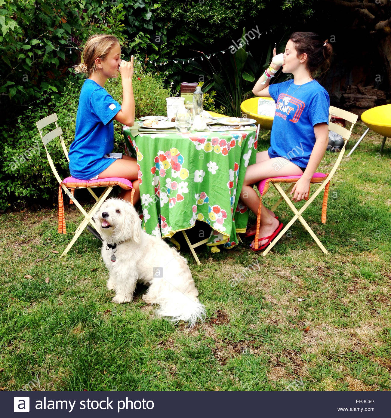Two girls sitting in garden with pet dog having a tea party - Stock Image