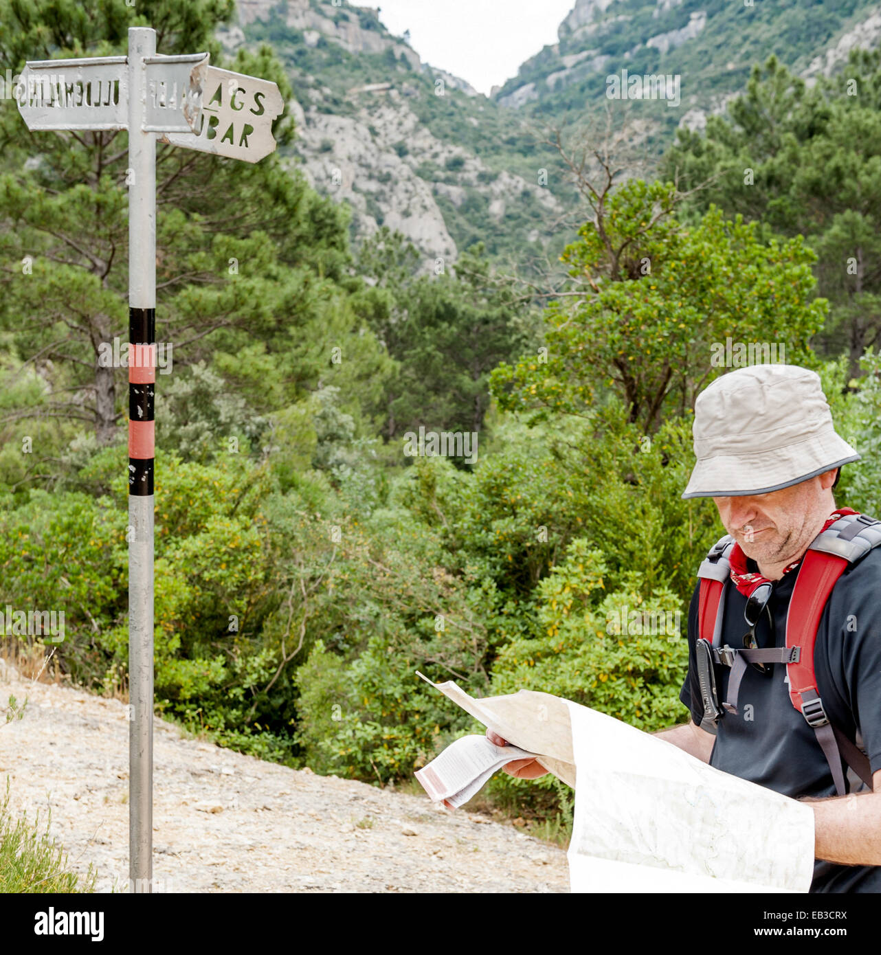 Spain, Catalonia, Tarragona, Priorat, Ulldemolins, Hiker on mountain trail looking at map near direction sign - Stock Image