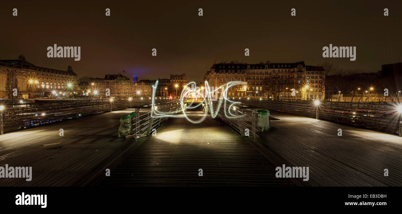 France, Paris, Light trail in air - Stock Image