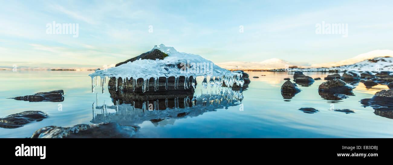 Iceland, Tthingvellir National Park, Beautiful ice formation - Stock Image
