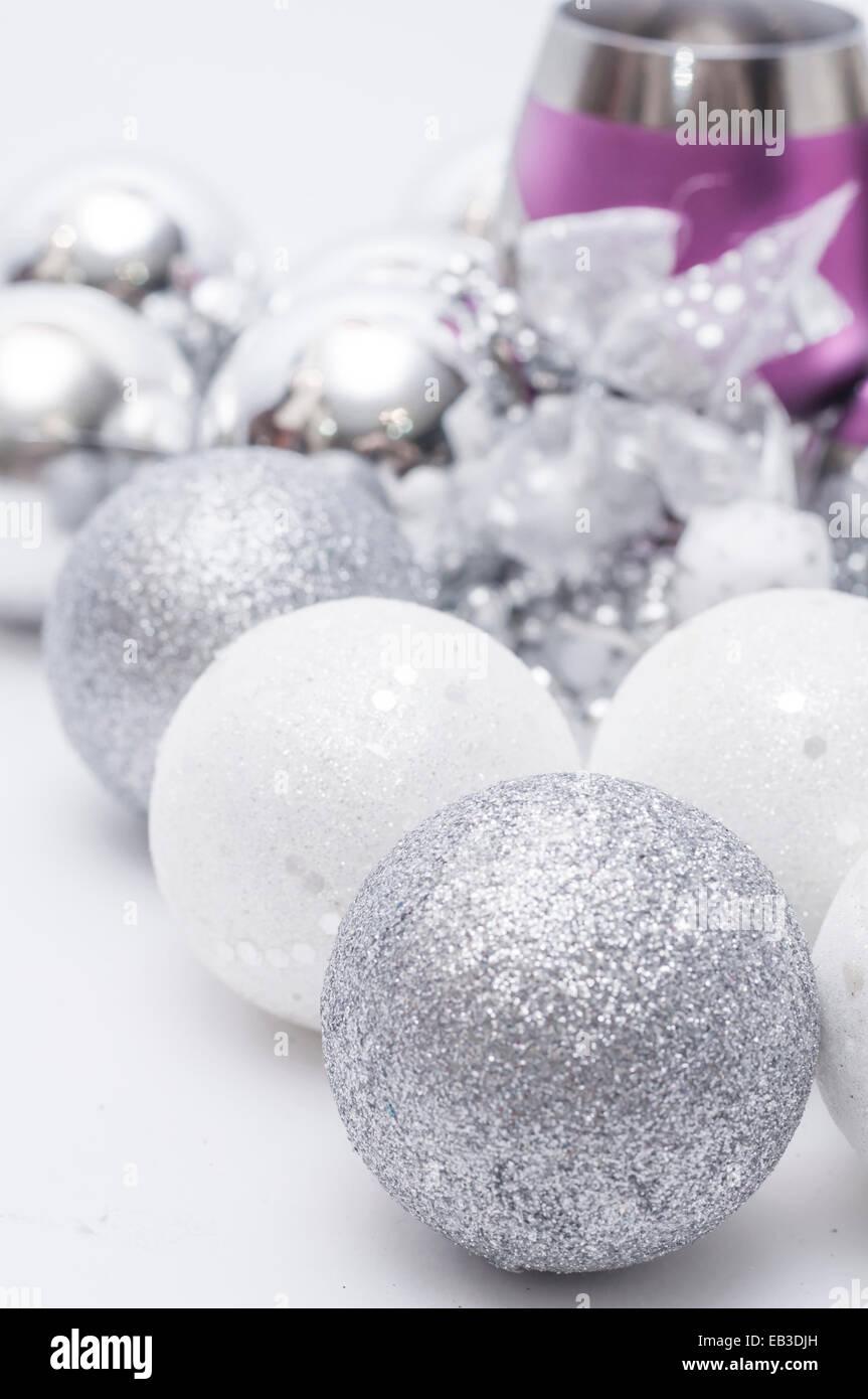 Wineglass and Christmas toys Stock Photo