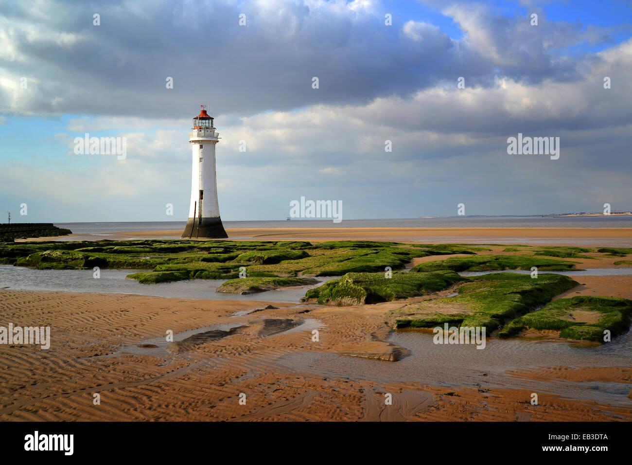 UK, England, Merseyside, Wirral, Newbrighton, Lighthouse on shore - Stock Image